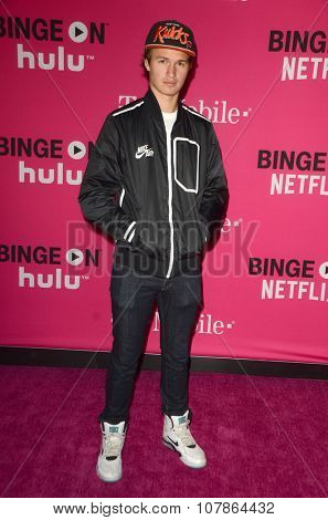 LOS ANGELES - NOV 10:  Ansel Elgort at the T-Mobile Un-carrier X Launch Celebration at the Shrine Auditorium on November 10, 2015 in Los Angeles, CA