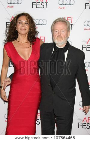 LOS ANGELES - NOV 10:  Ridley Scott, Giannina Facio at the AFI Fest 2015 Presented by Audi -