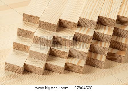 Stack of timber on the table