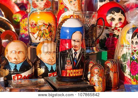 Moscow, Russia - March 31, 2008. Russian Traditional Dolls Matryoshka with portrait of Putin V.V.