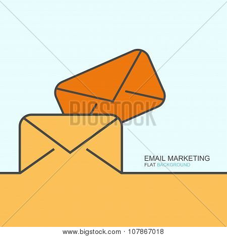Vector outline flat design of email marketing