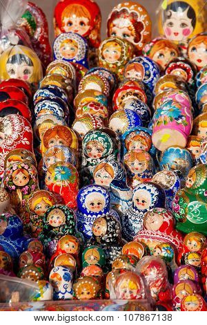 Russian Traditional Nested Dolls - Matryoshka. Dolls Are On Sale As Souvenirs For Tourists.
