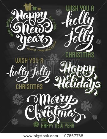 Hand drawn calligraphic lettering design set for winter holidays on chalkboard. Merry Christmas and Happy New Year. Vector illustration.