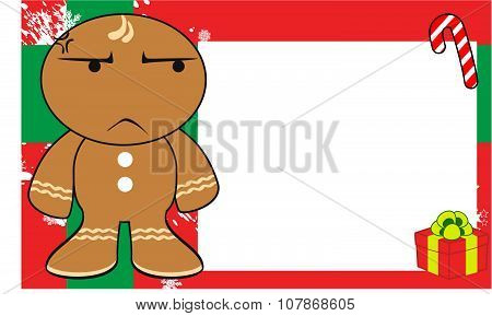 grumpy xmas gingerbread kid cartoon expression background