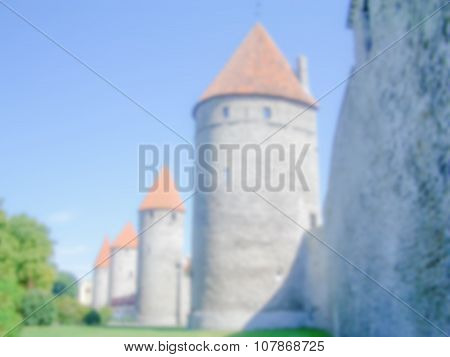Defocused Background With The City Walls Of Tallin. Intentionally Blurred Post Production