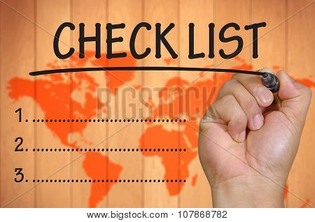 Hand Writing Checklist  Over Blur World Background