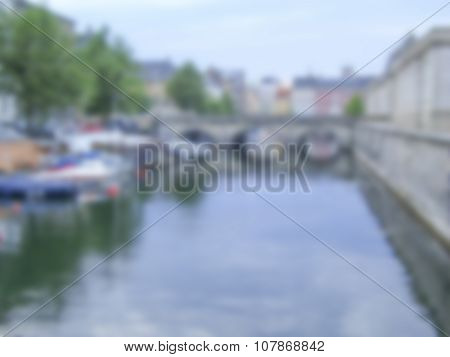 Generic Defocused Background Of Copenhagen. Intentionally Blurred Post Production