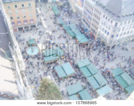 Defocused Background With Aerial View Of Marienplatz In Munich. Intentionally Blurred Post Productio
