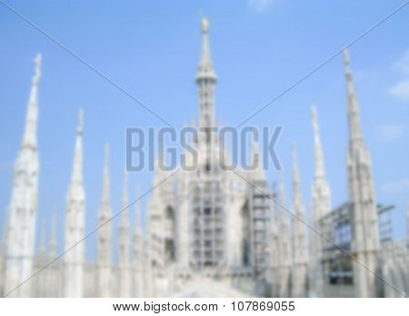Defocused Background With The Roof Of Milan Gothic Cathedral. Intentionally Blurred Post Production