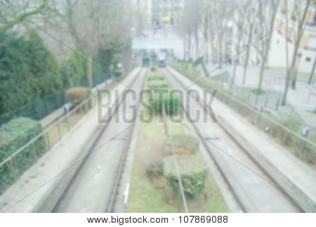 Defocused Background Of Montmartre Funicular In Paris. Intentionally Blurred Post Production