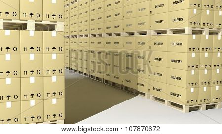 Carton boxes on wooden pallets in rows