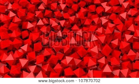 3D red polyhedrons pile abstract background