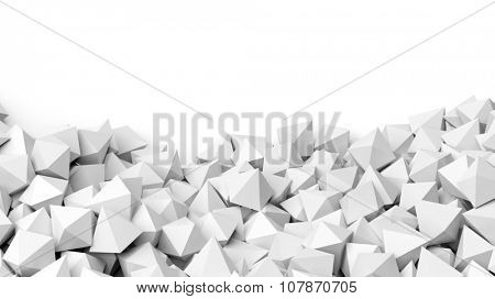 3D white polyhedrons pile, isolated on white with copy-space