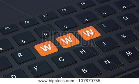 Black keyboard closeup with WWW