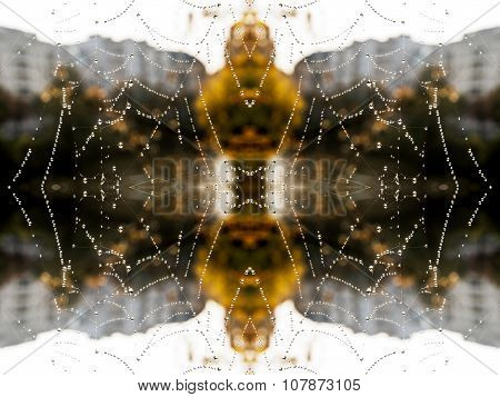 Abstract Spider Web With Dew Drops