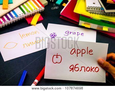 Learning New Language Making Original Flash Cards; Russian