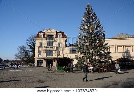 Christmas tree at Teatralna square in Uzhhorod, Ukraine.City located in western Ukraine at border wi