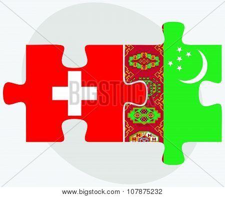 Switzerland And Turkmenistan Flags