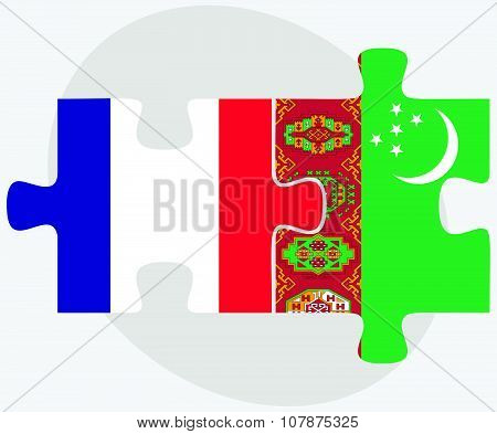 France And Turkmenistan Flags