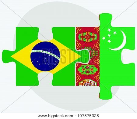 Brazil And Turkmenistan Flags