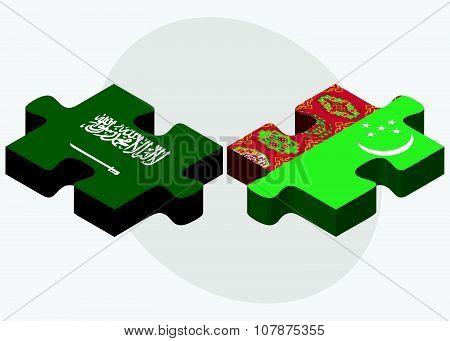 Saudi Arabia And Turkmenistan Flags