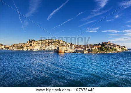 Elba Island, Portoferraio Village Harbor And Skyline. Tuscany, Italy.