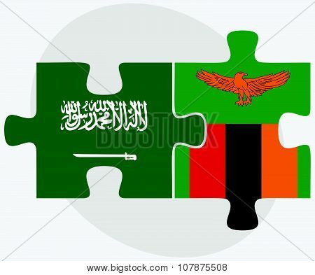 Saudi Arabia And Zambia Flags