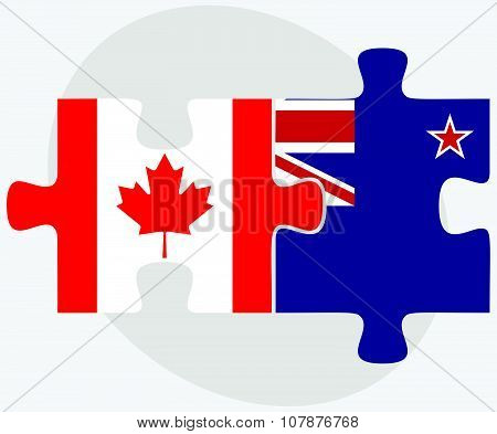 Canada And New Zealand Flags