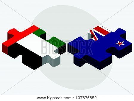 United Arab Emirates And New Zealand Flags