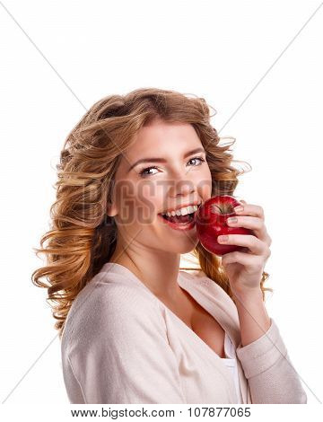 Girl With Curly Hair Holding A Red Apple And Smiling.