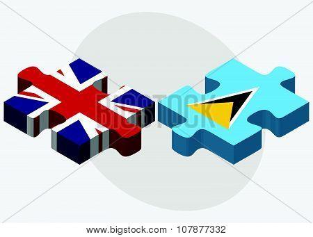 United Kingdom And Saint Lucia Flags