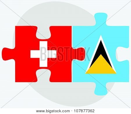 Switzerland And Saint Lucia Flags