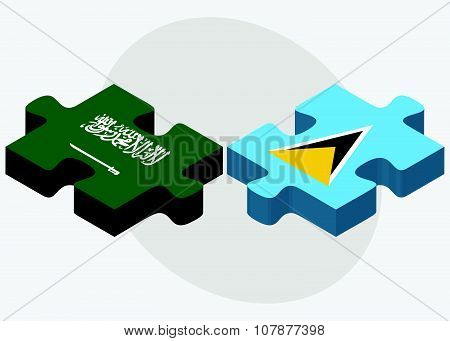 Saudi Arabia And Saint Lucia Flags