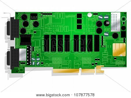 Green Graphics Card Circuit Board Illustration On White Background