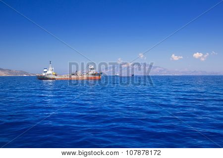 Transporter ship on the ionian sea at Zakynthos island, Greece