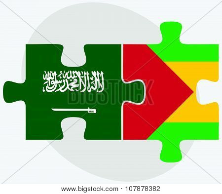 Saudi Arabia And Sao Tome And Principe Flags