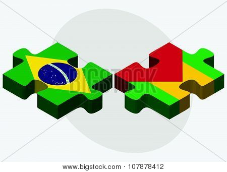 Brazil And Sao Tome And Principe Flags