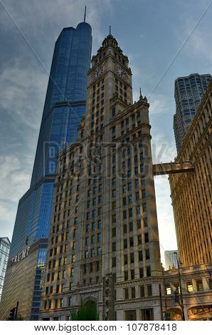 Trump Tower And Wrigley Building Chicago