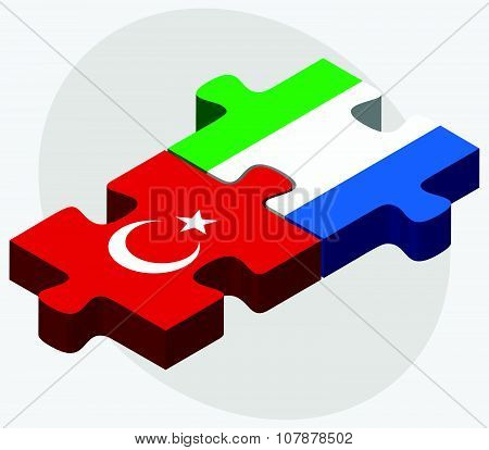Turkey And Sierra Leone Flags