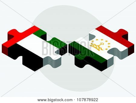 United Arab Emirates And Tajikistan Flags