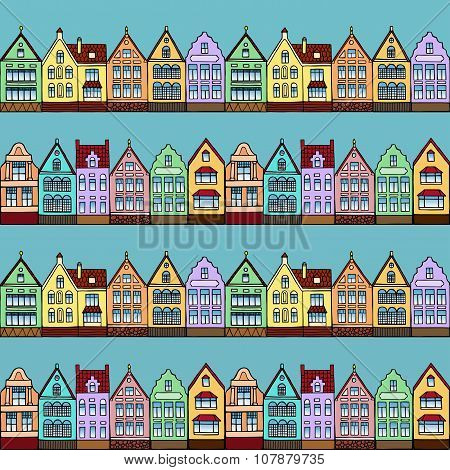 Seamless pattern with town streets