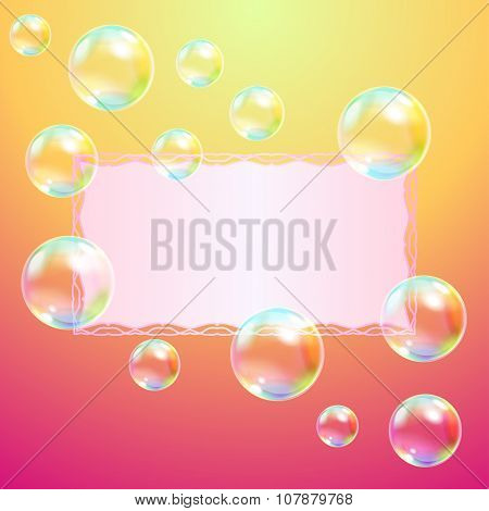 Greeting card and soap bubbles