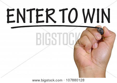 Hand Writing Enter To Win Over Plain White Background