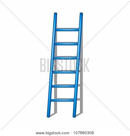 Wooden ladder in blue design with shadow