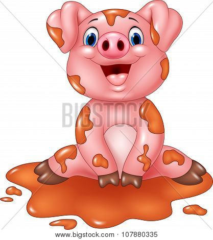 Cartoon pig play in a mud puddle