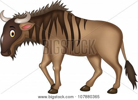 Cartoon adorable wildebeest isolated on white background