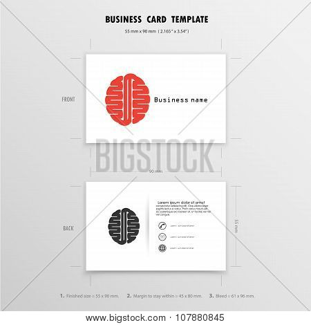 Abstract Creative Business Cards Design Template. Name Cards Symbol. Size 55 Mm X 90 Mm (2.165 In X