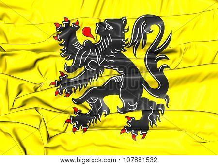Flag Of Flanders Region, Belgium.