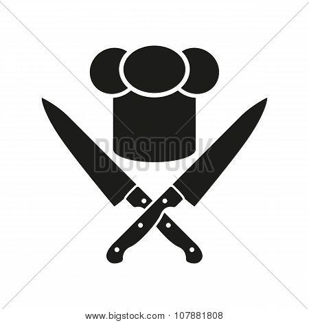 The chef hat and crossed knives icon. Cook, restaurant, cafe symbol. Flat