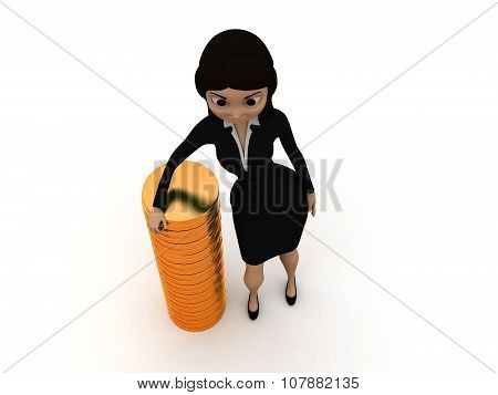 3D Women Presenting A Row Of Gold Coins Concept